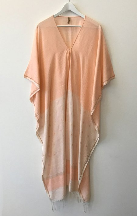 Two Sheer Caftan with White Front - Peach