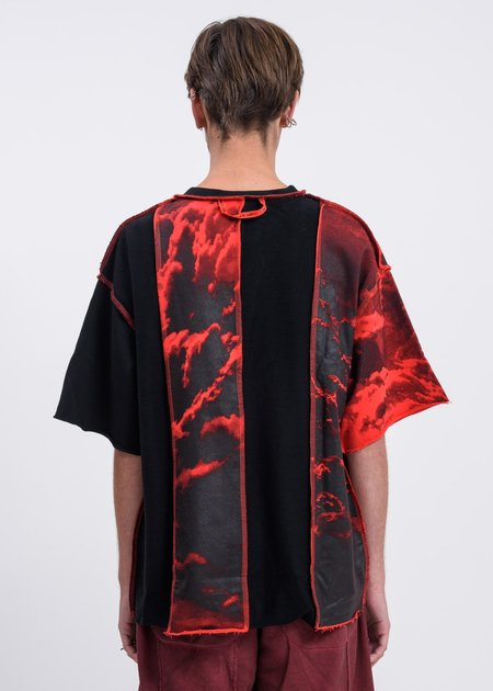 Black Lux Clouds Panel T-Shirt - Black/Red