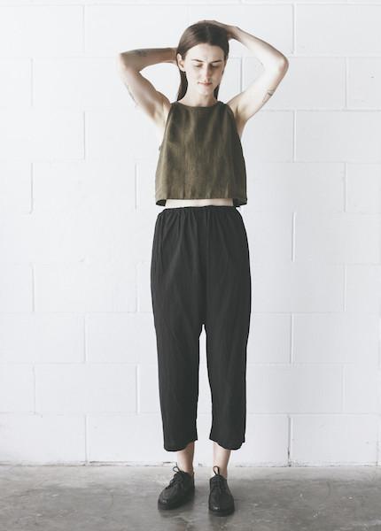Uzi -  Drop Crotch Pants in Black