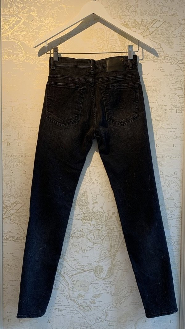 R13 High Rise Skinny Jeans - Black Marble