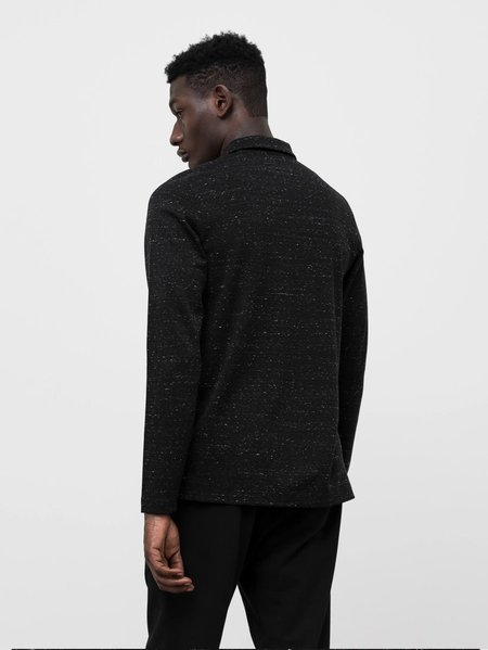 Wings+Horns Signals Long Sleeve Polo - Static Black