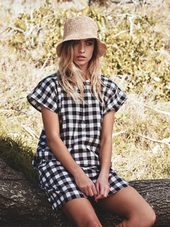 Lilya Alba Dress - Black/Cream Gingham Check