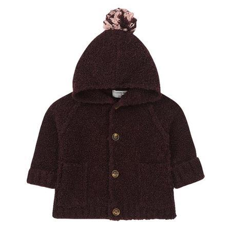 KIDS 1+ In The Family Zermatt Knit Sweater Jacket With Hood -  Burgundy Red