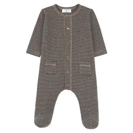 KIDS 1+ In The Family Mons Long Sleeved Jumpsuit - Black/Beige Stripes