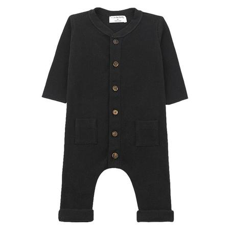 KIDS 1+ In The Family Toulouse Long Sleeved Ribbed Knit Jumpsuit - Black