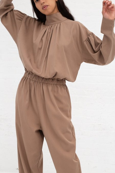 Black Crane Tencel/Cotton Tulip Jumpsuit - Camel