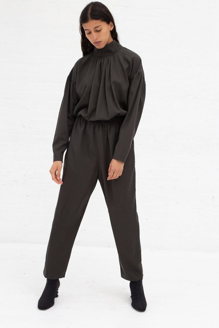 Black Crane Tulip Jumpsuit - Dark Grey Tencel/Cotton