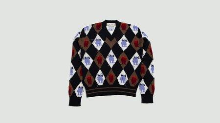 Marni Intarsia Sweater - navy