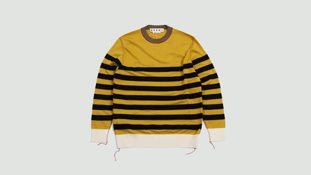 Marni. Round Neck Striped Sweater - yellow/navy/beige