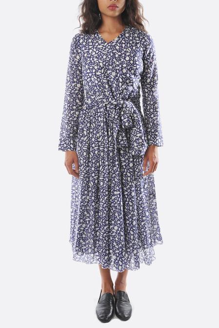 Sara Lanzi long sleeve Muslin Wrap Dress - Blue Snake print
