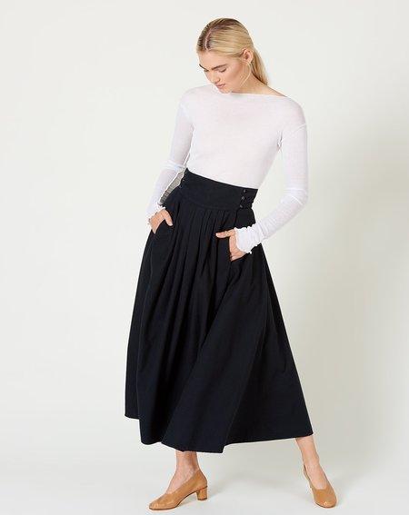 Black Crane Button Wrap Skirt - Midnight