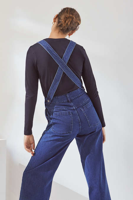Kowtow Crossover Dungarees in Mid Blue Denim
