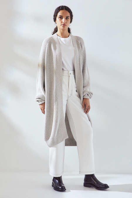 Kowtow Journey Cardigan in Grey Marle
