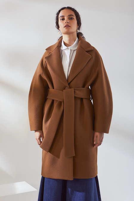 Kowtow Wool Overcoat in Sepia