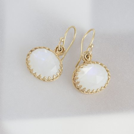 Becky Kelso Oval Rose-Cut Moonstone Earrings On French Wires