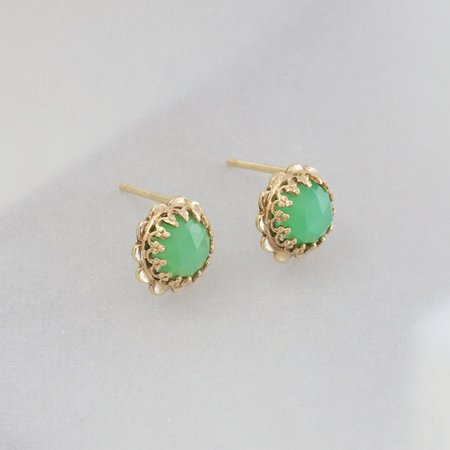Becky Kelso Round Rosecut Chalcedony Stud Earrings - Gold
