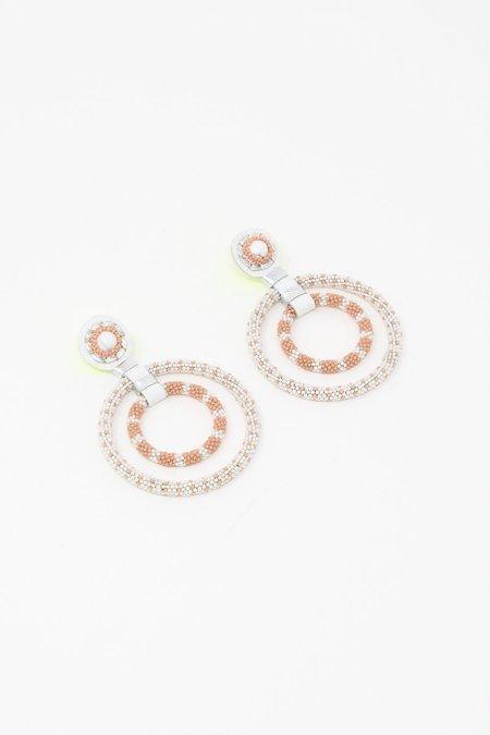 Robin Mollicone Double Beaded Gypsy Hoop Earrings - White Howlite