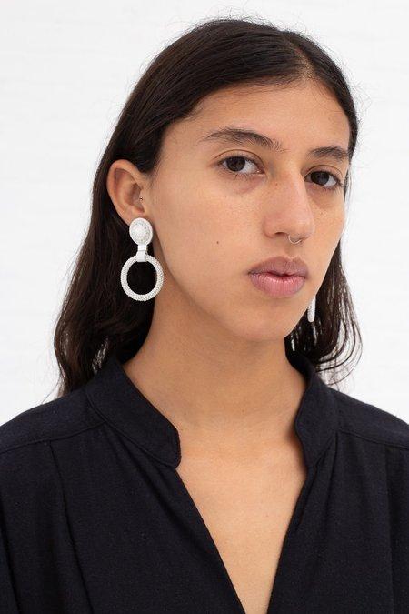 Robin Mollicone Small Beaded Hoop Earring - White Howlite
