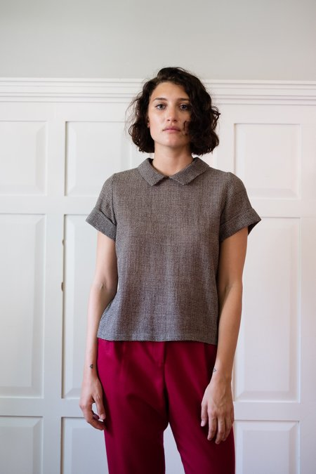 Chistine Alcalay Wool Gauze Collared Short Sleeves Blouse