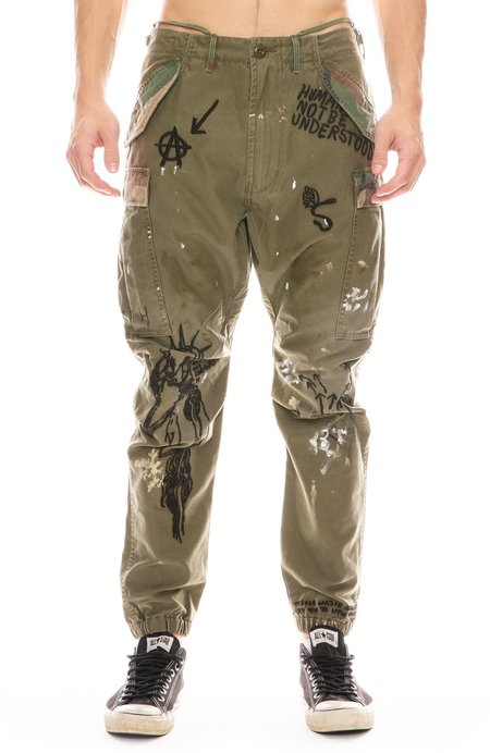 R13 Surplus Cargo Pant with Embroidery - Olive