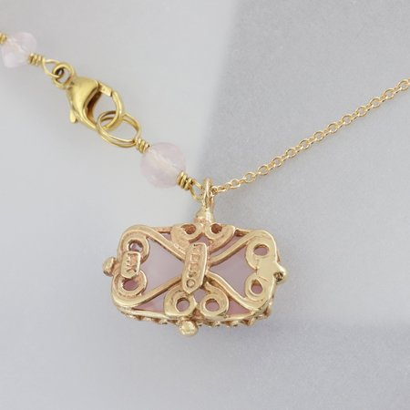 Becky Kelso Cushion Rectangle Rose Quartz Necklace - Gold