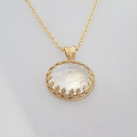 Becky Kelso Rainbow Moonstone Necklace - Yellow Gold