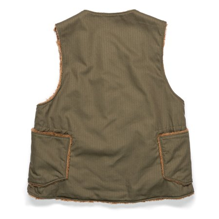 Engineered Garments Cotton Herringbone Twill Over Vest - Olive