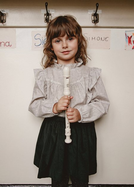 Kids Petits Vilains Albertine Ruffle Blouse - Capel Grey