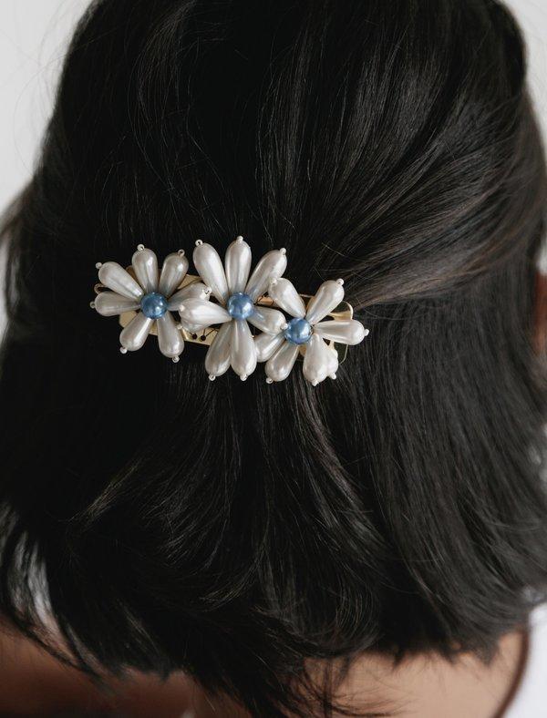 Shrimps Ina Flower Beaded Barrette - cream/blue