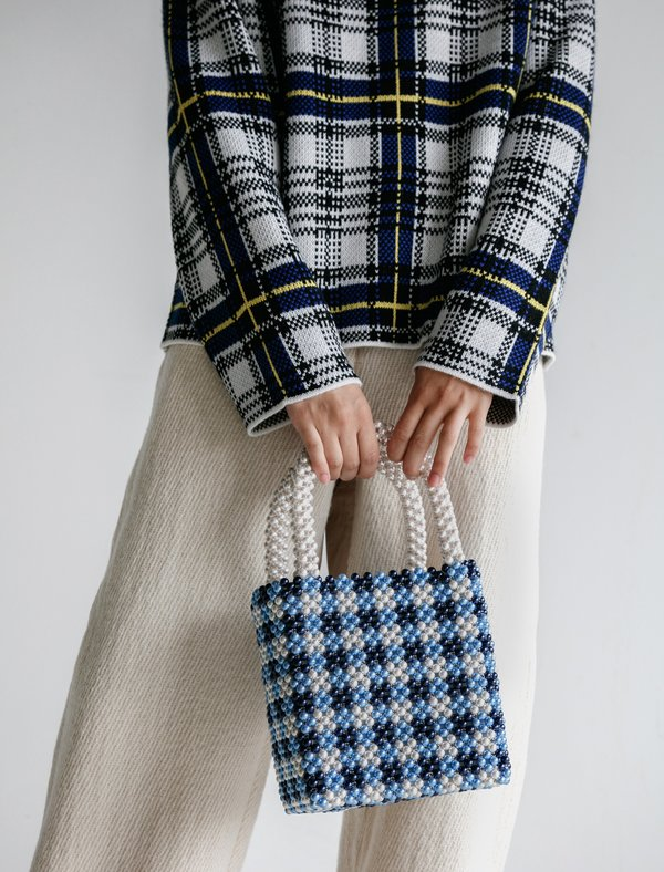Shrimps Gingham Purse - Willow Blue