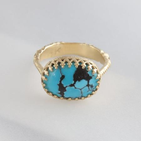 Becky Kelso Oval Ring With Turquoise - Yellow Gold