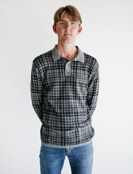 Meticulous Knitwear LS Merino Polo - Charcoal Plaid