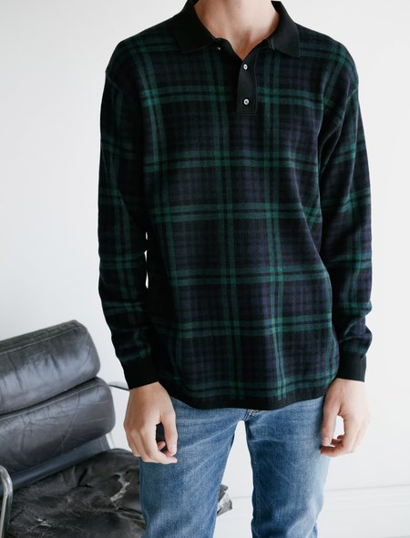 Meticulous Knitwear LS Merino Polo - Navy Plaid