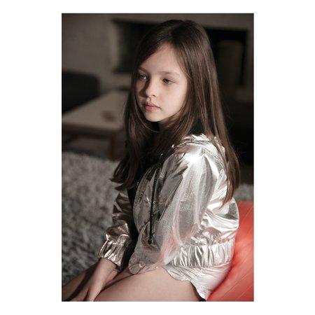 kids hundred pieces shiny jacket - silver