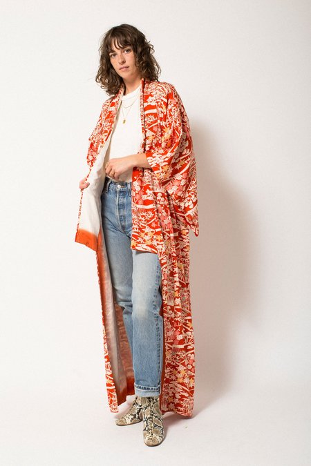 Vintage Preservation Full Length Kimono - Orange