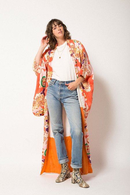 Vintage Preservation Full Length Kimono - Peach