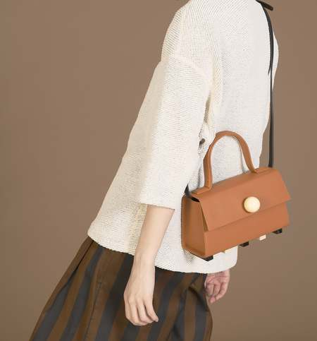 MATTER MATTERS Mini Trapezoid Satchel Bag with strap - Brown