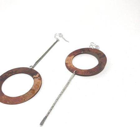 Patsy Kolesar Stick and Hoop Earrings - Copper/Sterling Silver