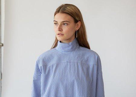 Nomia Oversize Mockneck Shirt - Cobalt/White Gingham