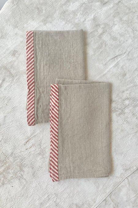 Cuttalossa Candy Stripe Linen Towel (Set of 2) - Natural
