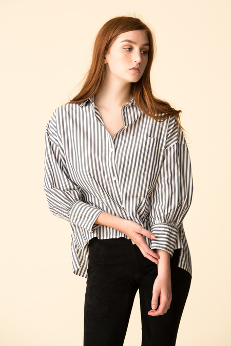 Nili Lotan Lonnie Shirt - Dark Navy Stripe