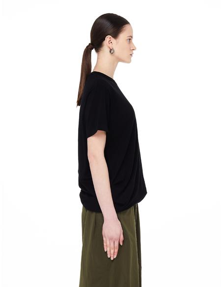 Y's Draped Cotton T-Shirt - Black