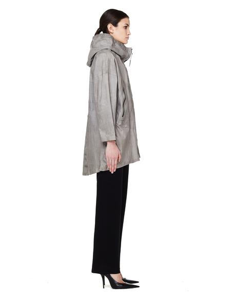 Isaac Sellam Hooded Leather Parka Jacket - Grey