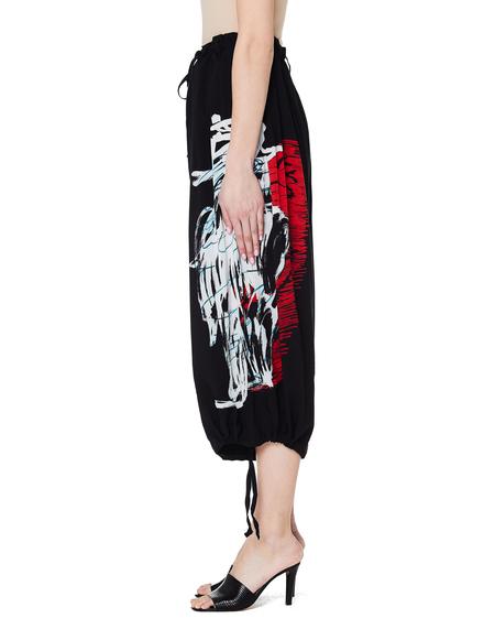 Yohji Yamamoto Cropped Printed Trousers - black