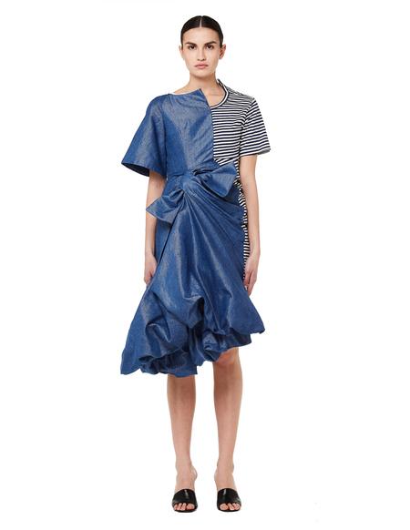 Junya Watanabe Asymmetrical Denim & T-shirt Dress - blue