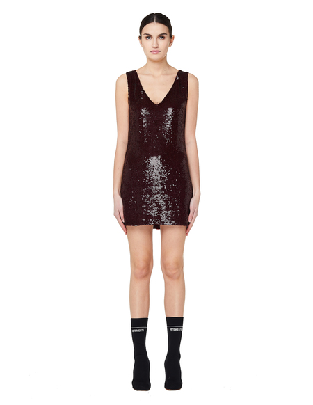 Ashish Sequined Mini Dress - Burgundy