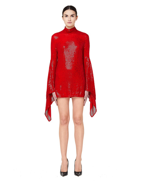 Ashish Embroidered Sequin Dress - Red