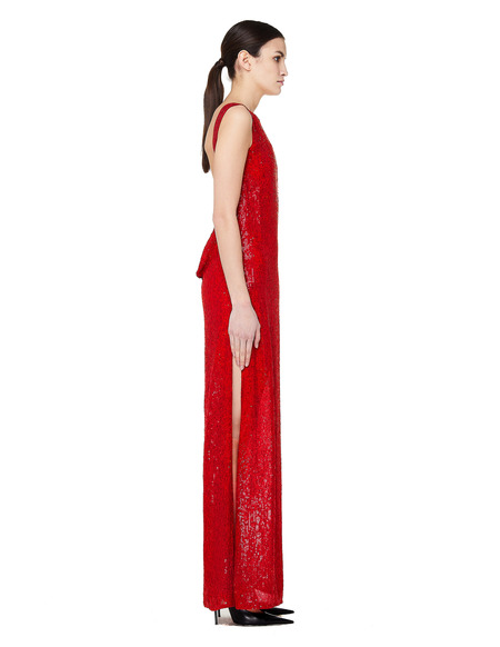 Ashish Floor Length Sequin Dress - Red