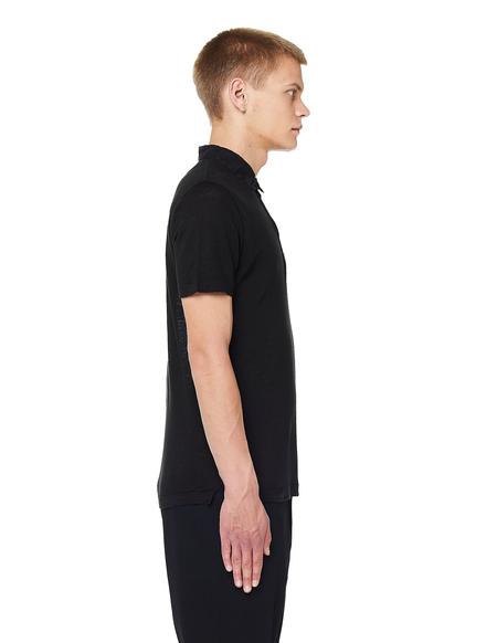 120% Lino Linen Polo T-Shirt - Black
