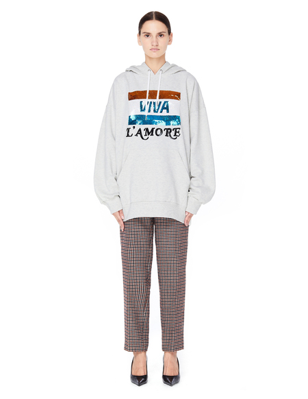 Ashish Viva L`Amore Embroidered Cotton Hoodie - Gray